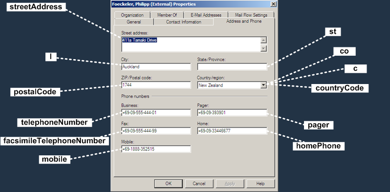E2K7 Contact Attributes : Address and Phone Tab