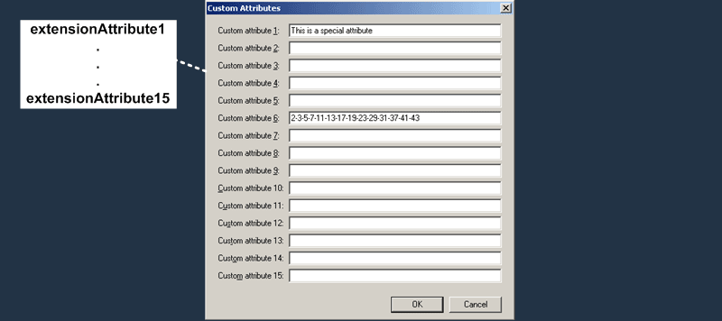 E2K7 Benutzer Attribute : Custom Attributes Tab