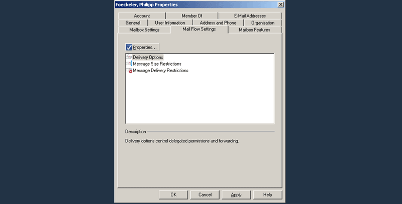E2K7 User Attributes : Mail Flow Settings Tab