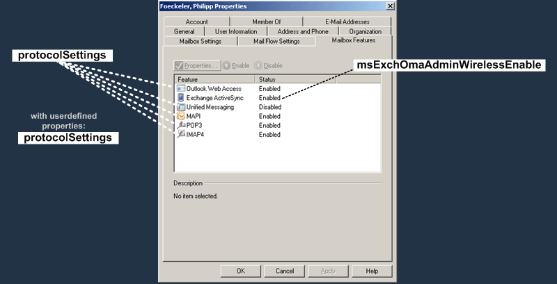 E2K7 User Attributes : Mailbox Features Tab